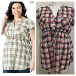 Maternity plaid tunic by Motherhood. Plus size 1x